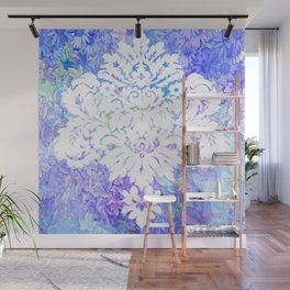 White Pattern on Floral Background Wall Mural