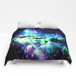 Blue Purple Green Galaxy Clouds Comforters