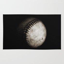 Battered Baseball in Black and White Rug