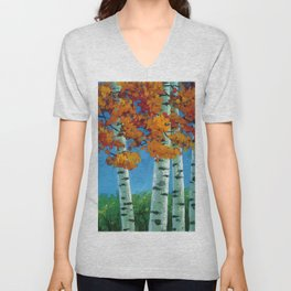 Poplars in autumn Unisex V-Neck