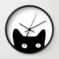 black Wall Clocks featuring Black Cat by Good Sense