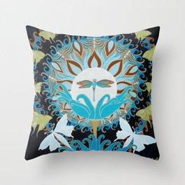 Journey of the Luna Moth Art Nouveau Mandala by Jeanne Fry Throw Pillow