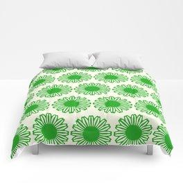 vintage flowers green Comforters