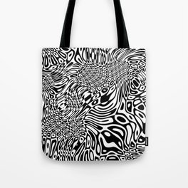 Black  and white psychedelic optical illusion Tote Bag