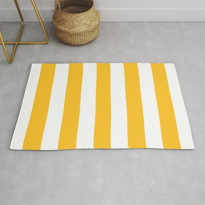 Ripe mango - solid color - white stripes pattern Rug