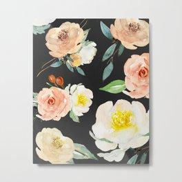 Watercolor Flower Collage on Chalkboard Metal Print