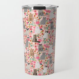 Cat Flowers cute spring summer garden cat lady pattern gift for cat person cat breed pet portraits  Travel Mug