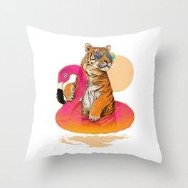 Chillin, Flamingo Tiger Throw Pillow