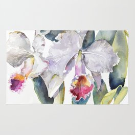Vintage White Cattleya Orchids and Moth Poster Botanical Design Rug
