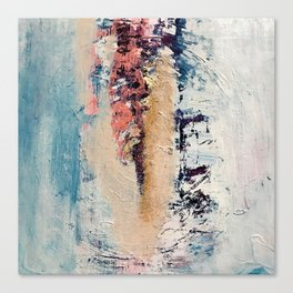 Artemis: A pretty, minimal, abstract mixed media piece in blue, gold, pink, purple, and white Canvas Print