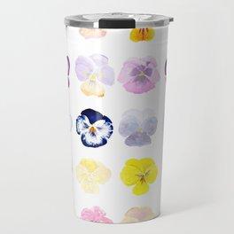 colorful pansies watercolor painting Travel Mug