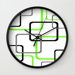 Geometric Rounded Rectangles Collage Lime Green Wall Clock