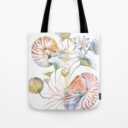 Nautilus and Lotus Surreal Watercolor Sea Animal Botanical Design Tote Bag