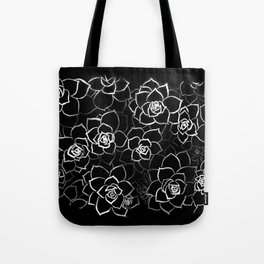 White ink. graphic with white ink and black cardboard. flowers Tote Bag