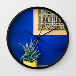 Moroccan Garden In Blue Wall Clock