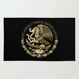 Mexican flag seal in sepia tones on black bg Rug