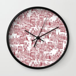 Doctor Who Toile de Jouy | 'Walking Doodle' | Red Wall Clock