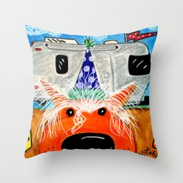 Chinese Crested at the Circus Throw Pillow