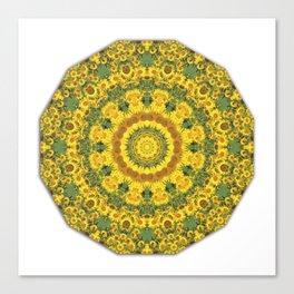 Sunflowers, Floral mandala-style, Flower Mandala Canvas Print