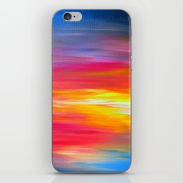 BRIGHT HORIZONS Bold Colorful Rainbow Pink Yellow Blue Abstract Painting Sunrise Sunset Stripes  iPhone Skin