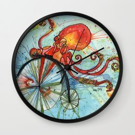 Octopus on a Bike Wall Clock
