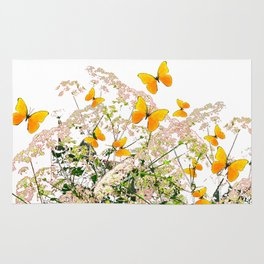 WHITE ART GARDEN ART OF YELLOW BUTTERFLIES Rug