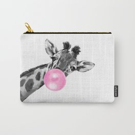 Bubble Gum Black and White Sneaky Giraffee Carry-All Pouch