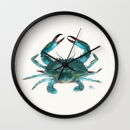 """""""Blue Crab"""" by Amber Marine ~ Watercolor Painting, Illustration, (Copyright 2013) Wall Clock"""