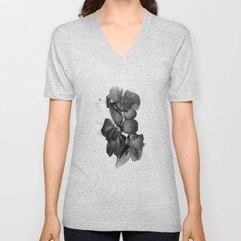 Black Geranium in White Unisex V-Neck