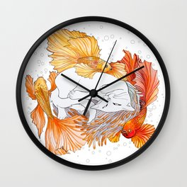 Cat and Golden Fishes Wall Clock