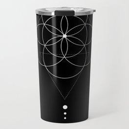 Seed Of Life Geometry Black Travel Mug