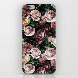 Vintage & Shabby chic - dark retro floral roses pattern iPhone Skin