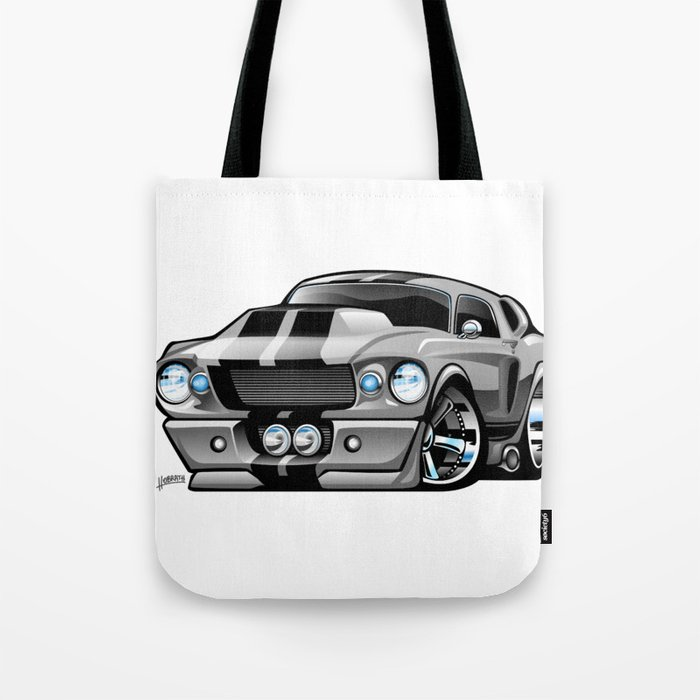Classic Sixties American Muscle Car Cartoon Tote Bag