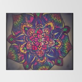 Dark Flower Mandala Throw Blanket