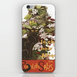Easter Le Chat Noir de Paques With Floral Cross iPhone Skin