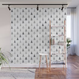 Rustic Christmas Trees Black and White Wall Mural