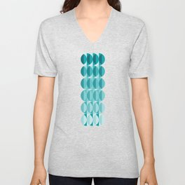 Leaves in the moonlight - a pattern in teal Unisex V-Neck