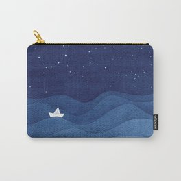 blue ocean waves, sailboat ocean stars Carry-All Pouch