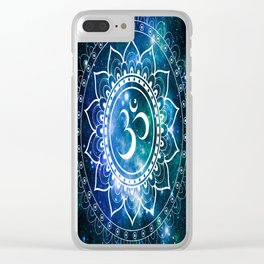 Om Mandala : Blue Green Galaxy Clear iPhone Case