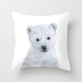 Little Polar Bear Throw Pillow