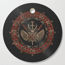 Gungnir - Spear of Odin Black and Red Leather and gold Cutting Board