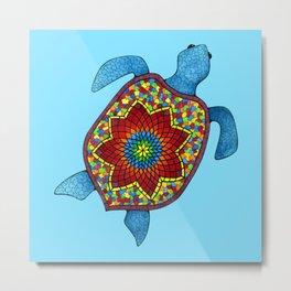 Turtley Awesome Mosaic Turtle Metal Print