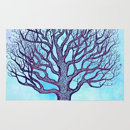 Tree of Life Blue Zen Design Rug