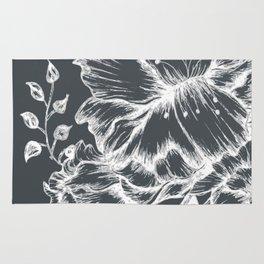Three white inked flowers Rug