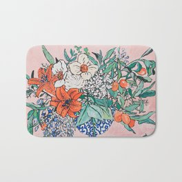 California Summer Bouquet - Oranges and Lily Blossoms in Blue and White Urn Bath Mat
