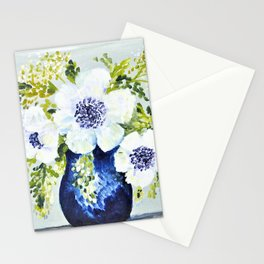 Anemones in vase Stationery Cards