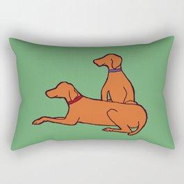 Vizslas on Green Rectangular Pillow