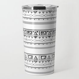 Black with gray and white pattern . Travel Mug