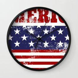 America Grunge Rubber Stamp Design Wall Clock