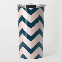 Blue and Shades of Pink Chevron Travel Mug